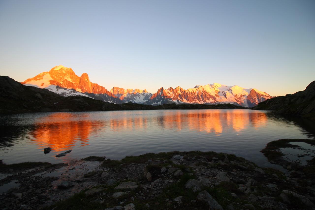 Réveil douceur face au Mont Blanc, Lac de Chésery